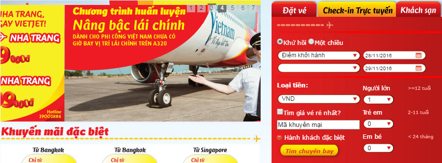 Check-in online trực tuyến Vietjet Air